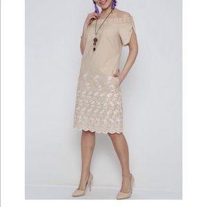 Dresses & Skirts - Tan off the shoulder embroidered shift dress